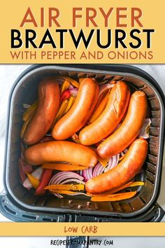 No need to fire up the grill to enjoy delicious bratwurst. This recipe for Air Fryer Brats is so quick and easy, and it turns out perfect every time. Cooking bratwurst in air fryer means you can serve… Air Fryer Recipes Vegan, Air Frier Recipes, Air Fryer Dinner Recipes, Air Fryer Healthy, Easy Dinner Recipes, Easy Meals, Healthy Recipes, Delicious Recipes, Dinner Ideas