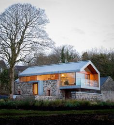 modern vernacular architecture, would fit into the Tennessee landscape. Modern barn by McGarry-Moon Architects in N. Ireland, blends the original stone barn with modern features of metal roof, glass railings-a beautiful blend of old & new. Modern Barn, Modern Farmhouse, Modern Cottage, Rustic Modern, Residential Architecture, Interior Architecture, Contemporary Architecture, Contemporary Design, Building Architecture