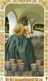 My #TarotJoy 8Cups- I am sometimes sad when things are over but I try to remember to be happy they happened at all. Sometimes you gotta go.    This is the Eight of CUps from the First Edition Baroque Bohemian Cats Tarot by Karen Mahoney and Alex Ukolov at Baba Studios.    https://www.facebook.com/BabaStudios    www.78whispers.blogspot.com