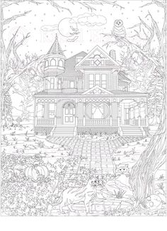 Haunted House, Victorian House, Adult Coloring Page, ColoringBookByKristi Witch Coloring Pages, House Colouring Pages, Cat Coloring Page, Halloween Coloring Pages, Printable Adult Coloring Pages, Coloring Sheets, Coloring Books, House Drawing, Christmas Colors