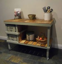Rustic Industrial French Shabby Farmhouse Kitchen Island Bench Workbench