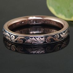 Custom made ring from Green Lake Jewelry Works – relief wheat engraving antiqued into rose gold...