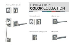 Contemporary Color Collection offers chic hardware design that you can personalize with a variety of color inserts.   / Choose from seven different colored inserts / Use all one color or your own creative combination  / Match the personality of each room  / Add emphasis to your color scheme  / Visit emtek.com/color.php for more information
