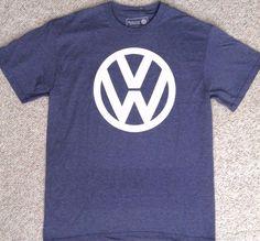 New VOLKSWAGEN T-SHIRT Heather-Navy-Blue & White VW Circle Logo ADULT S,M,L,XL #Volkswagen #GraphicTee