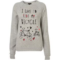 Bicycle Sweatshirt ($39) ❤ liked on Polyvore featuring tops, hoodies, sweatshirts, sweaters, shirts, sweatshirt, topshop, women, cotton sweat shirts and shirts & tops
