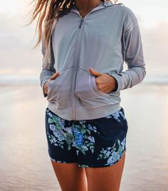 our cozy, cute, & casual {Albion Zip Up Hoodie paired with our sporty, Antigua Cobalt Sprinter Shorts} make for the perfect relaxing outfit | @albionfit