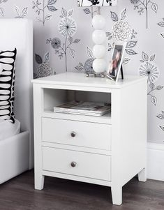 Hemnes nightstand white stain pinterest hemnes fern and shelves brooklyn ivory white bedside table with 2 drawers and shelf metal runners dovetail joints assembled amazon kitchen home watchthetrailerfo