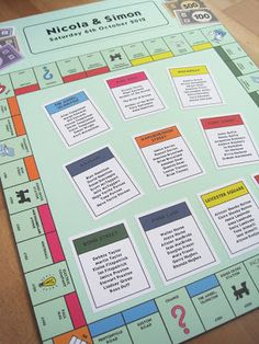 Monopoly game board seating chart; wedding reception decor; from Bee Happy Designs.  Fabulous if you have a gameboard theme!