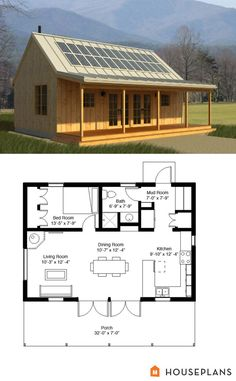 Solar power -                                                      Cabin Style House Plan - 1 Beds 1 Baths 704 Sq/Ft Plan #497-14 Other Floor Plan - Houseplans.com