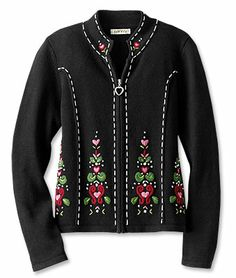 Embroidered Zip-Front Cardigan