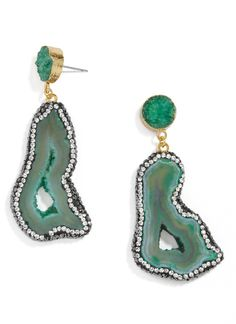 Moonrock Drops-Green Earrings from Bauble Bar.  Love how organic and pretty these gems are!  #affiliate