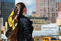 French silk scarves, Astrology and Zodiac design in yellow and black color, by ANNE TOURAINE Paris™, tied on a ponytail