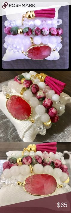 Coral Agate Stone Beaded Bracelet Set GORGEOUSLY handcrafted bracelet set that includes an coral colored agate center stone beaded bracelet, stacked with 2 accented beaded bracelets and a fuchsia tassel bracelet finish .... complete with a display pillow perfect for gift giving  . This set also comes in a white organza bag for an optimal fancy finish. A MUST HAVE PIECE!! Jewelry Bracelets