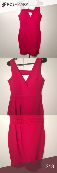 Red tulip dress by kimcine Gorgeous shade of red!  Bust is molded to maintain shape (could wear without bra, which is nice since there is a cut-out!). Tulip style faux wrap skirt.  Back has inverted triangle cutout.  Perfect condition!  Size medium. Dresses Mini