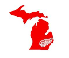 Just ordered one for the truck. So excited the Etsy seller took my request!! #redwings Michigan Detroit Red Wings Hockey Custom State Map