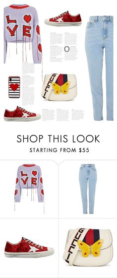 """Без названия #8818"" by bliznec ❤ liked on Polyvore featuring Philosophy di Lorenzo Serafini, Topshop, Golden Goose, Gucci and Kate Spade"
