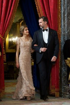 Prince Felipe and Princess Letizia host a dinner for Crown Prince Naruhitoin Madrid, 12 June 2013.