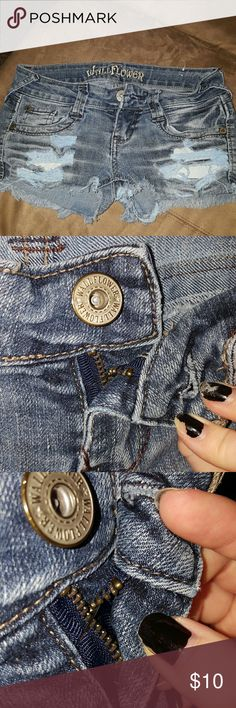 Wallflower Jean shorts Brand wallflower Jean shorts distressed  Zipper doesn't work but could probably be filed I just can't do it. But it is held by a safety pin and works just fine. Pictured wallflower Shorts Jean Shorts