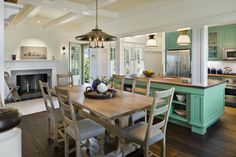 Coastal beach house kitchen and dining room! DREAMY PERFECTION!