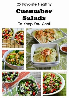 25 Favorite Healthy Cucumber Salads to Keep You Cool; these are salads I make every summer when it gets too hot to do much cooking! [from Kalyn's Kitchen] #SummerSalads #CucumberSalads