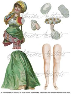 Natayla Bohemian Gypsy Marionettes Jumping Jack Paper Doll Theater Puppet Articulated Digital Collage Sheet  Toy Model. $1.75, via Etsy.