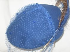 Georgi' Blue Hat Michael Howard 100% Wool by TheBagLadyVintage