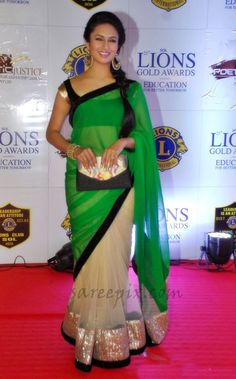 Divyanka-tripathi-saree-Lions-gold-awards-2015