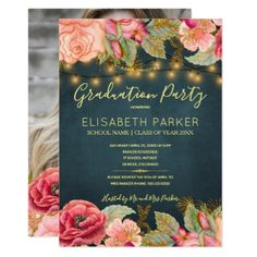 Rustic pink blush peonies photo graduation party card pink roses navy gold lights photo graduation party card filmwisefo Choice Image