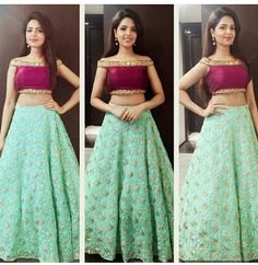 Green And Wine Cold Shoulder Lehenga Choli Off shoulder blouse Lehenga Skirt, Lehnga Dress, Lehenga Blouse, Anarkali, Lehenga Choli, Kids Lehenga, Sharara, Patiala, Choli Designs