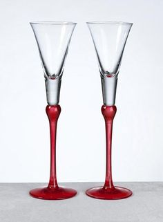 Red Glass Wedding Toasting Glasses