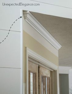 Ever had a piece of crown molding that didn't butt up to another wall and left a hole? Find out how to dead end crown molding easily! possible crown molding for Board and batten shelf Home Improvement Projects, Home Projects, Home Renovation, Home Remodeling, Diy Crown Molding, Molding Ideas, Crown Moldings, Door Moulding, Decor Inspiration