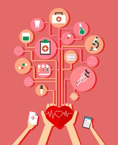 Healthcare elements infographic with medical tools illustration Blood Donation Posters, Medical Posters, Care Logo, Health Lessons, Health Logo, Nutrition Program, Nutrition Information, Health Motivation, Illustrations
