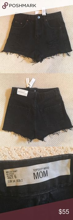 Host pickNWT Topshop high waisted black shorts New with tags. Purchased last summer and never worn - Just don't fit me now. Black and ripped. Really stylish. NO LOWBALL OFFERS! Topshop Shorts Jean Shorts