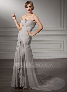Mother of the Bride Dresses - $154.99 - A-Line/Princess Sweetheart Court Train Chiffon Mother of the Bride Dress With Ruffle Beading (008006025) http://jjshouse.com/A-Line-Princess-Sweetheart-Court-Train-Chiffon-Mother-Of-The-Bride-Dress-With-Ruffle-Beading-008006025-g6025