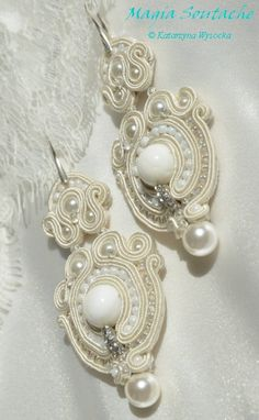 cream & pearls Pearl Cream, Soutache Jewelry, Jewerly, Brides, Pearl Earrings, Pearls, Wedding, Fashion, White People