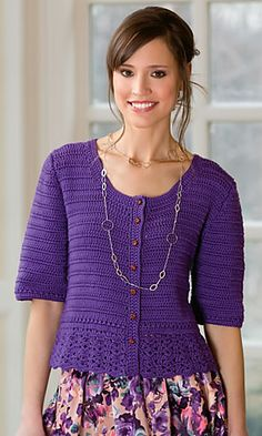"Crochet Blouse Patterns Another sweater ""A Little Romance Cardi"" by Ann E. Smith in Crochet! Crochet Bodycon Dresses, Black Crochet Dress, Crochet Jacket, Knitted Poncho, Crochet Cardigan, Crochet Buttons, Crochet Tops, Knit Crochet, Cardigan Pattern"
