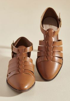 My Strappy Dance Flat. Fly to warmer weather, buckle into these Restricted flats, and tango down the sunny sidewalk showing off these strappy charmers with each stride! #brown #modcloth