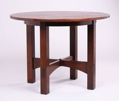 Large Gustav Stickley Lamp Table c1903-1904. Signed with Eastwood Paper Label. Refinished. 40″d x 29.5″h