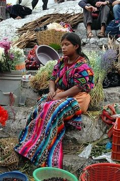 Indigenous people selling their wares at a local market place in Guatemala
