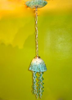 Blown Glass Chandelier - Jellyfish Light - White Turquoise Teal Chandelier by PrimoLighting on Etsy