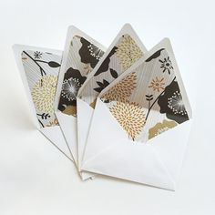 A2 Envelopes Set of 4   Paper lined  euro by GingersnapPress