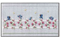 Smocking plate with birds sitting on a picket fence. 10 rows of smocking on a yoke. Smocking Baby, Smocking Plates, Smocking Patterns, Crochet Flower Patterns, Hand Embroidery Patterns, Embroidery Stitches, Sewing Patterns, Sewing Ideas, Smocked Baby Clothes