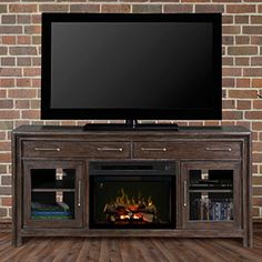 Woolbrook Distressed Nutmeg Electric Fireplace Media Console