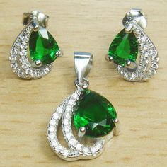 Micro Setting Round Pear Cut Emerald Green and White CZ 925 Sterling Silver Jewelry Set