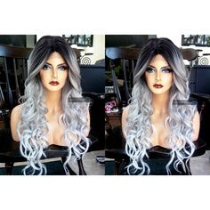 U.S.A. Heat SAFE Curly Silver Gray LACE FRONT Part Ombre Grey Wig w/... (355 ILS) ❤ liked on Polyvore featuring beauty products, haircare and hair styling tools
