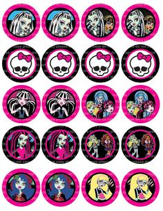 monster high stickers to print | INSTANT DL- Monster High Stickers - Cupcake Toppers - 2 Inch Circles ...