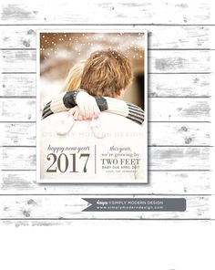 New Years Pregnancy Announcement, Growing By Two Feet, Christmas Card, Pregnancy  Announcement,