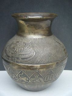 Water Pot Original Antique Hand Crafted Brass Old Water Lota India Rare #599