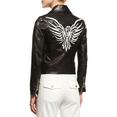 Veronica Beard Freedom Embroidered Eagle Leather Moto Jacket ($1,795) ❤ liked on Polyvore featuring outerwear, jackets, black, rider leather jacket, leather motorcycle jacket, leather biker jackets, embroidered leather jacket and eagles jacket