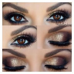 Gold Smokey Eye ❤ liked on Polyvore featuring beauty products, makeup, eye makeup and eyes